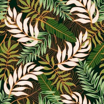 Бесшовные с тропическими листьями