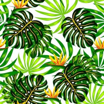 熱帯植物と花を持つ夏のシームレスパターン