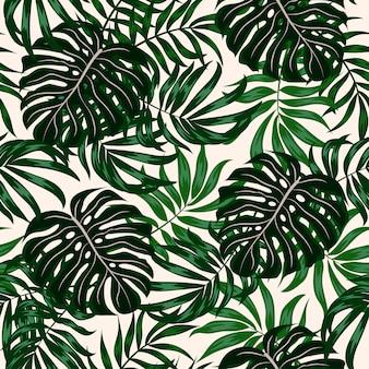緑の植物と葉を持つシームレスな熱帯パターン