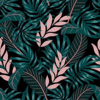 緑とピンクの葉と植物の抽象的なシームレスな熱帯パターン