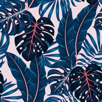 カラフルな植物と熱帯のシームレスパターン