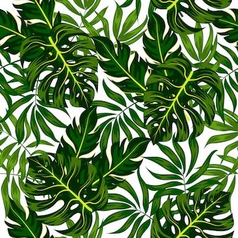 熱帯の葉と植物の夏のシームレスパターン