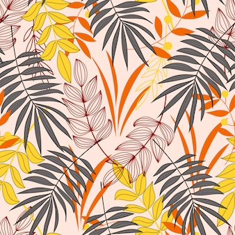 シームレスなベクターテクスチャ。カラフルな植物と熱帯のパターン