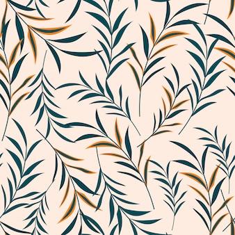 Вектор бесшовный цветочный узор с растениями. тропический дизайн