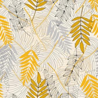 Бесшовный узор с тропическими листьями и растениями на белом