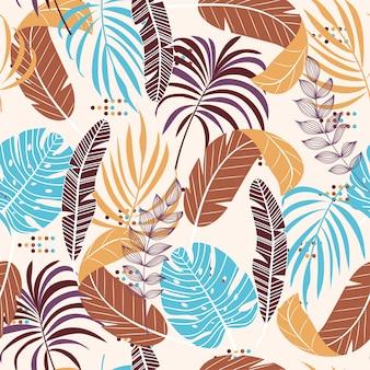 茶色と青の葉と植物の熱帯のシームレスな背景