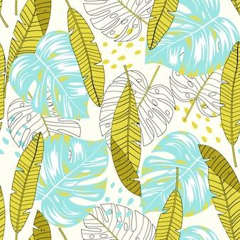 Летний тропический бесшовный фон с желтыми и синими листьями и растениями