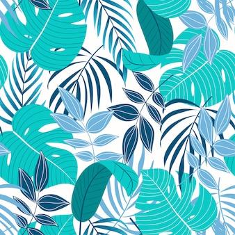 Оригинальный тропический бесшовный узор с бирюзовыми листьями и растениями на светлом фоне