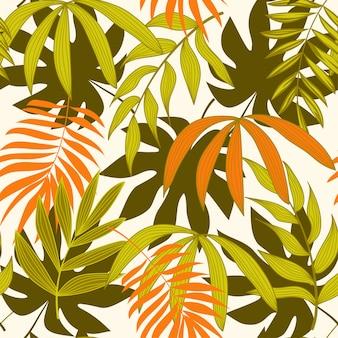熱帯の葉と抽象的なシームレスパターン