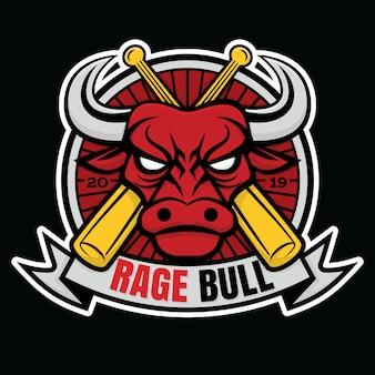 Талисман логотип бейсбол ярость бык