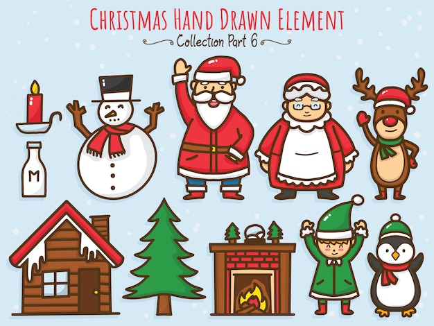 クリスマスの手描きの要素のコレクション