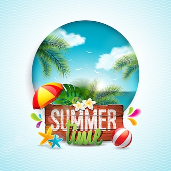 夏時間ヴィンテージの木の背景に休日のタイポグラフィイラスト。