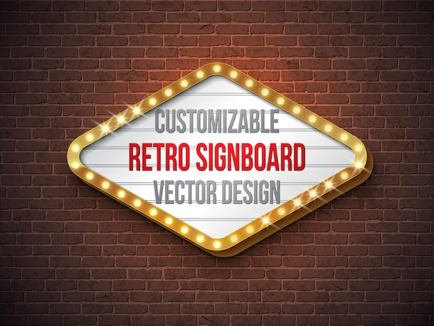 ベクトルレトロな看板やライトボックスのイラスト