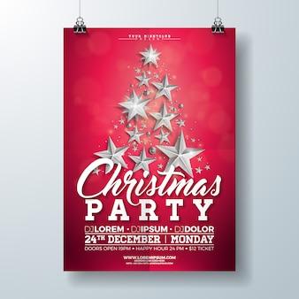 シルバースターとタイポグラフィレターでクリスマスパーティーフライヤーイラスト
