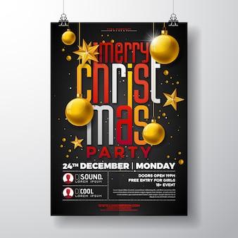 ゴールドスター、ガラス球、タイポグラフィレター付きクリスマスパーティーフライヤーイラスト