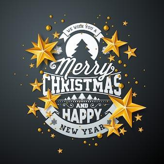ゴールドスターとタイポグラフィー要素によるメリークリスマスデザイン