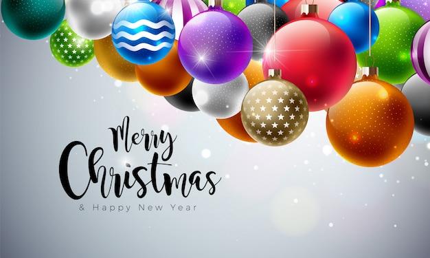 多色のガラスのボールでメリークリスマスのイラスト