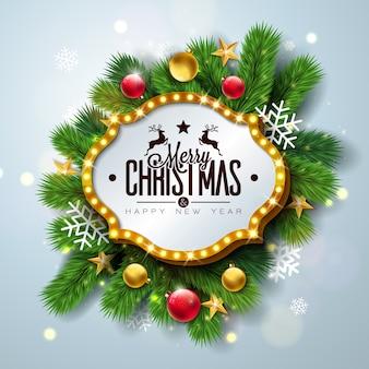 メリークリスマスと新年の幸せデザイン