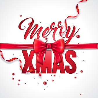 赤い弓のリボンとメリークリスマスのイラスト
