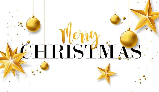 ゴールドのガラス球とスターのメリークリスマスイラスト