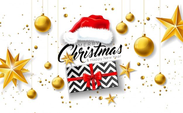 ギフトボックスとサンタの帽子とメリークリスマスのイラスト
