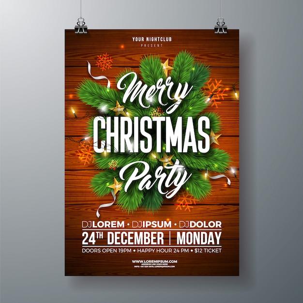 クリスマスパーティーフライヤーイラスト、パインブランチ