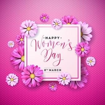 幸せな女性の日花グリーティングカードデザイン