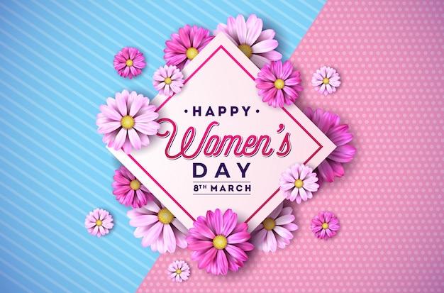 幸せな女性の日花グリーティングカード