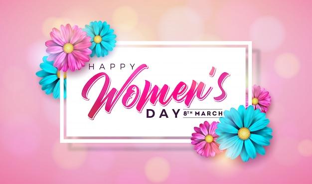 女性の日花とグリーティングカードの花