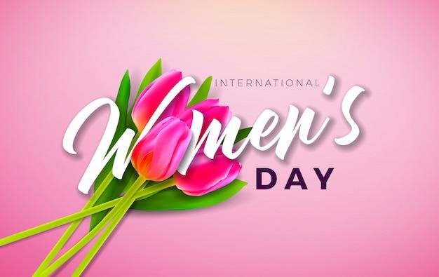 チューリップの花を持つ女性の日イラスト