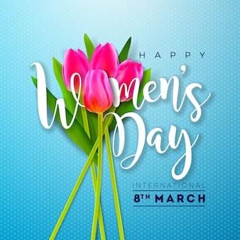 チューリップの花と幸せな女性の日イラスト