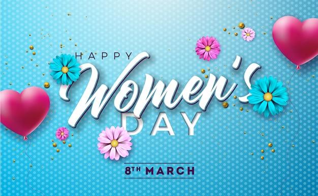 幸せな女性の日花と花のイラスト