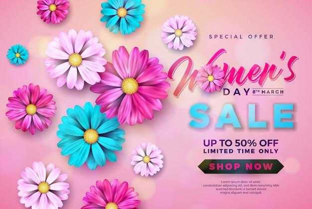 Женский день продажи дизайн с красивым красочным цветком