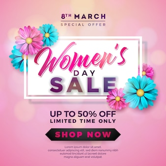 美しいカラフルな花を持つ女性の日セールデザイン