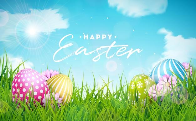卵と花とハッピーイースターのイラスト