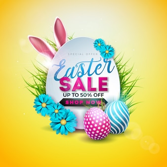 Пасхальная распродажа иллюстрация с крашеными яйцами и ушами кролика