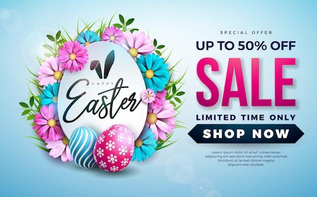Пасхальная распродажа иллюстрация с цветным яйцом и цветком