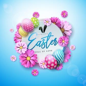 塗装卵と春の花とハッピーイースターのデザイン