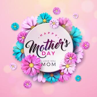 花とタイポグラフィの手紙と幸せな母の日デザイン