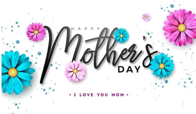 Счастливый день матери дизайн с цветком и типографии письмо
