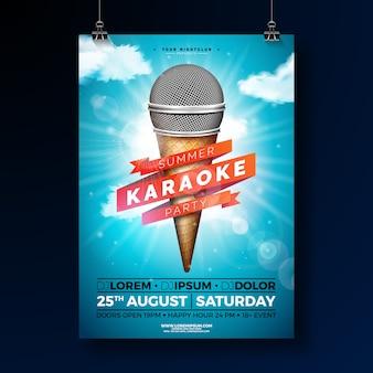 Шаблон плаката летняя караоке-вечеринка с микрофоном