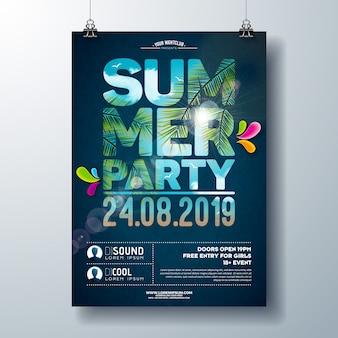 Шаблон плаката летней вечеринки с пальмами и пейзажем океана