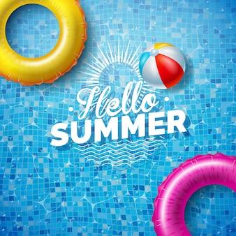 プールの背景にフロートと夏のイラスト