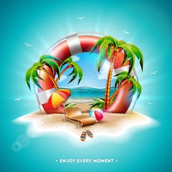 Векторная иллюстрация летнего отдыха с спасательный круг и пальмы