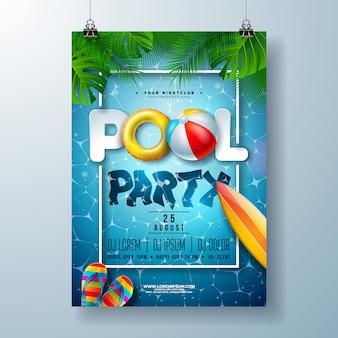 Шаблон плаката летней вечеринки у бассейна с пальмовыми листьями и пляжным мячом