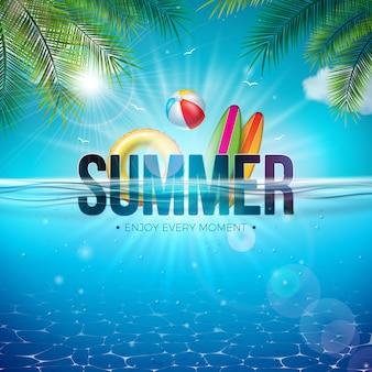 Летняя иллюстрация с пляжным мячом и подводным пейзажем голубого океана