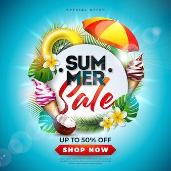 Летняя распродажа с цветами и тропическими пальмовыми листьями