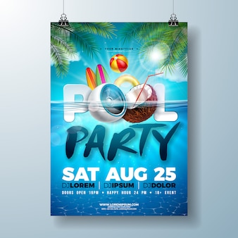 Летняя вечеринка у бассейна или шаблон дизайна флаера с динамиком и кокосом