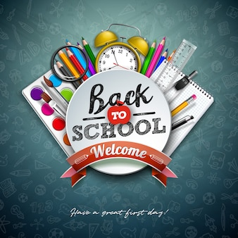 カラフルな鉛筆、はさみ、定規、黒板にタイポグラフィの文字で学校に戻ります。