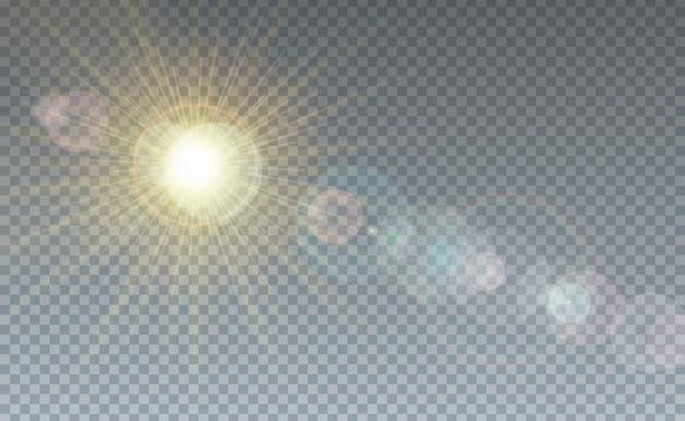 雲と日光の透明な背景
